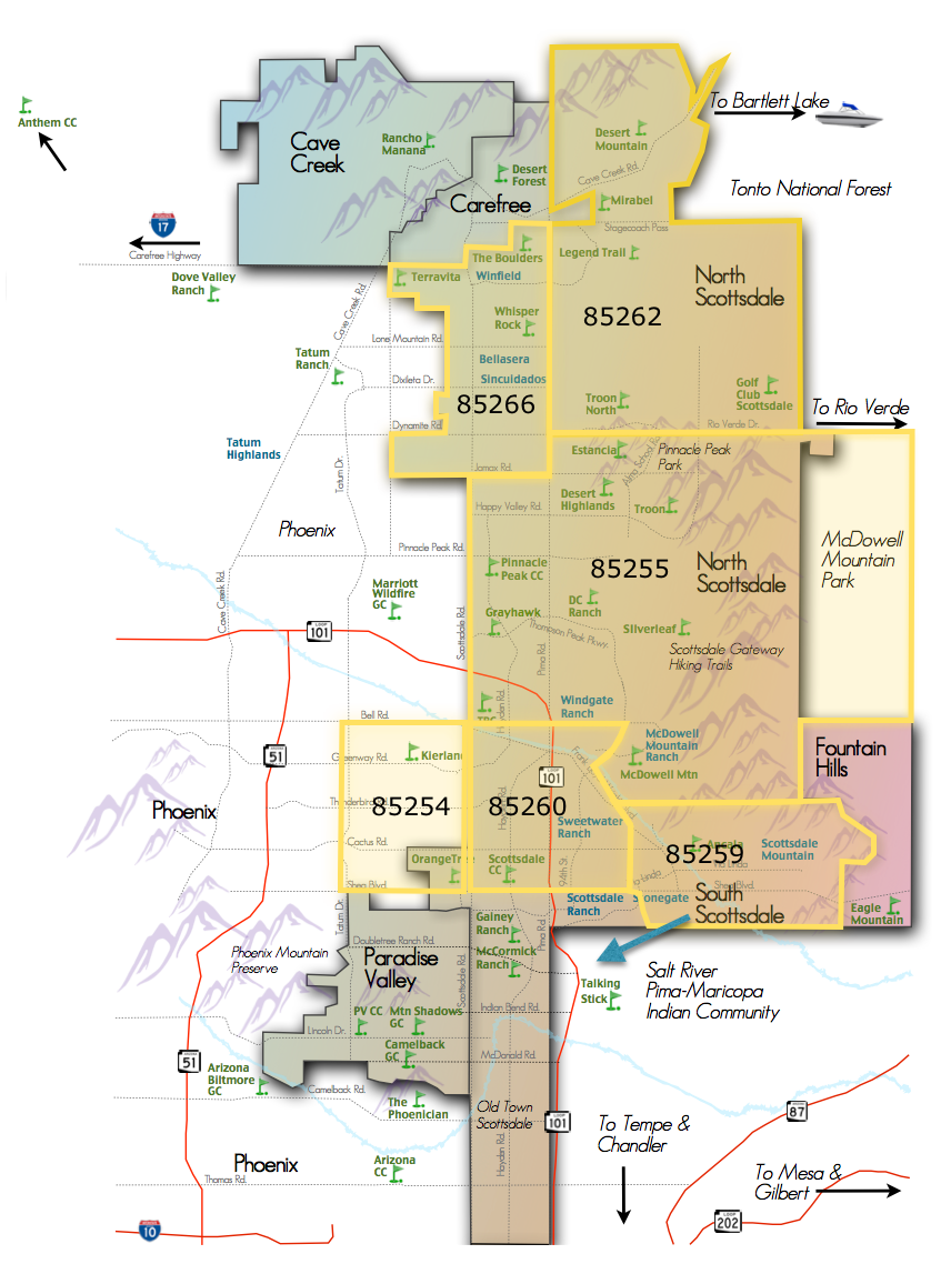 Arizona Zip Code Map 2015.Scottsdale Zip Code Map Scottsdale Subdivision Map Scottsdale Maps